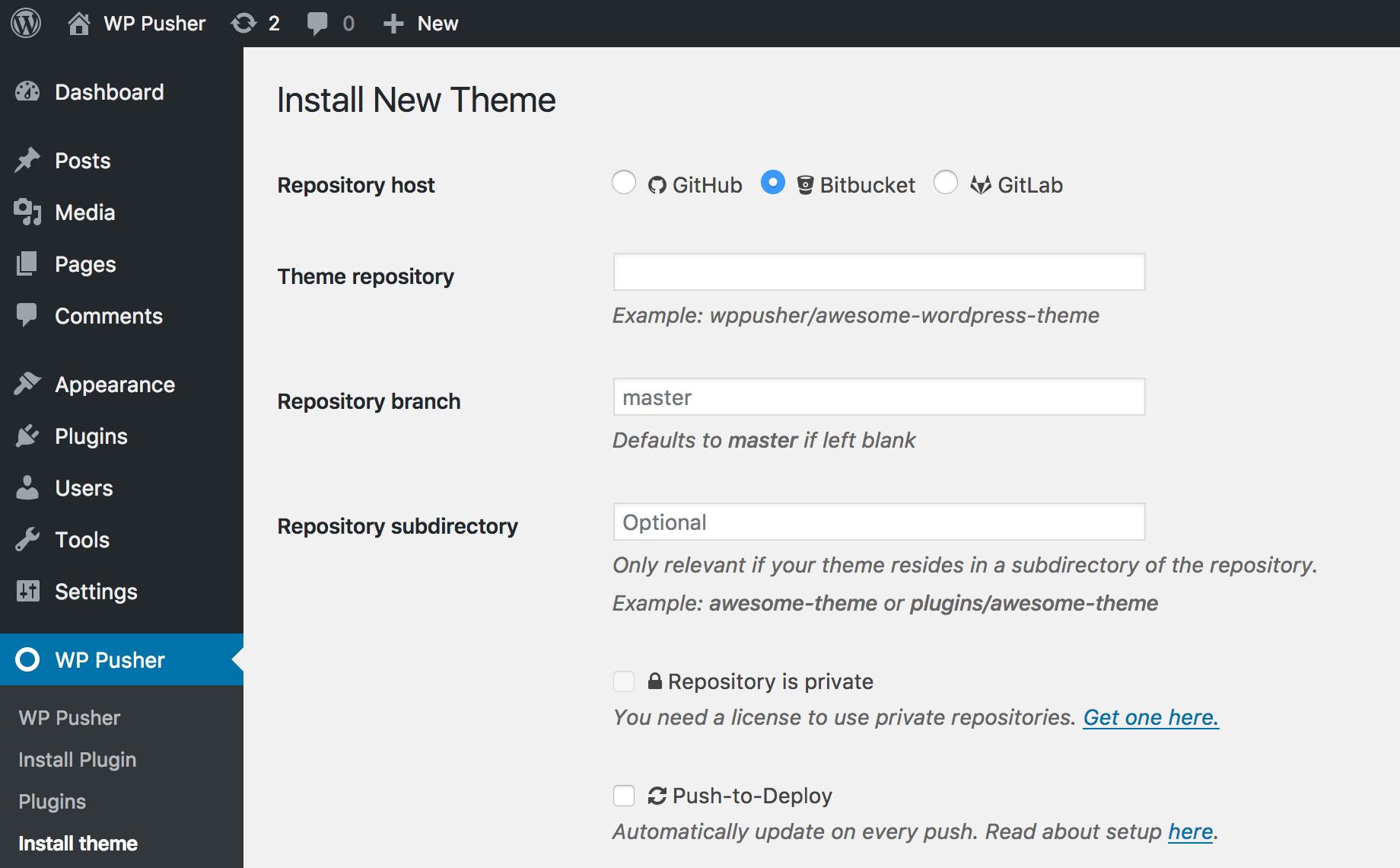 WordPress Git deployments with WP Pusher
